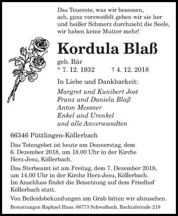 Traueranzeige für Kordula Blaß vom 06.12.2018 aus saarbruecker_zeitung
