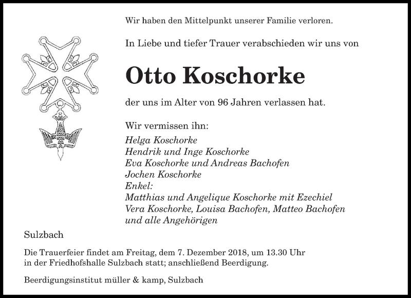 Traueranzeige für Otto Koschorke vom 05.12.2018 aus saarbruecker_zeitung
