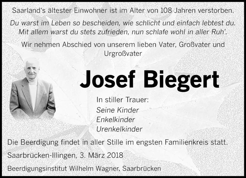 Traueranzeige für Josef Biegert vom 03.03.2018 aus saarbruecker_zeitung