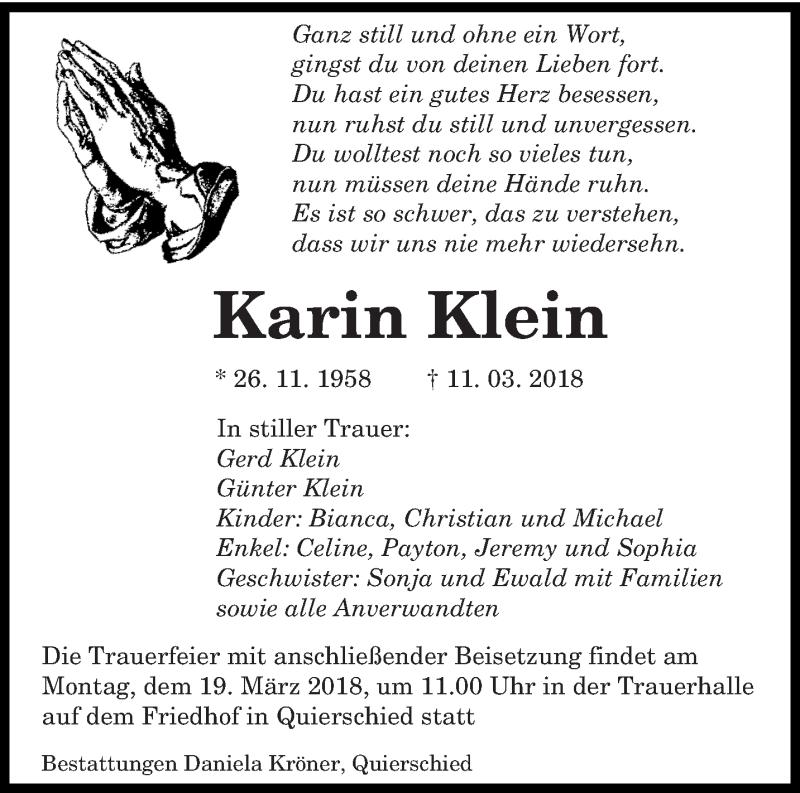 Traueranzeige für Karin Klein vom 14.03.2018 aus saarbruecker_zeitung