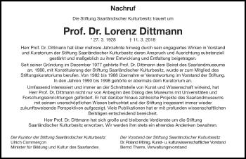 Traueranzeige für Lorenz Dittmann vom 17.03.2018 aus saarbruecker_zeitung