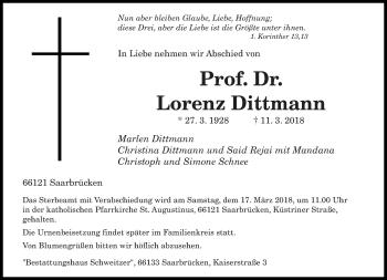 Traueranzeige für Lorenz Dittmann vom 13.03.2018 aus saarbruecker_zeitung