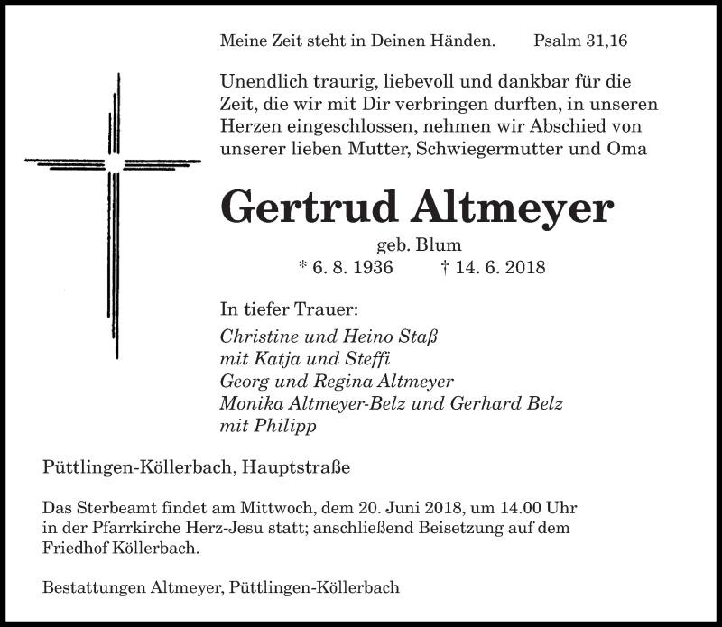 Traueranzeige für Gertrud Altmeyer vom 19.06.2018 aus saarbruecker_zeitung