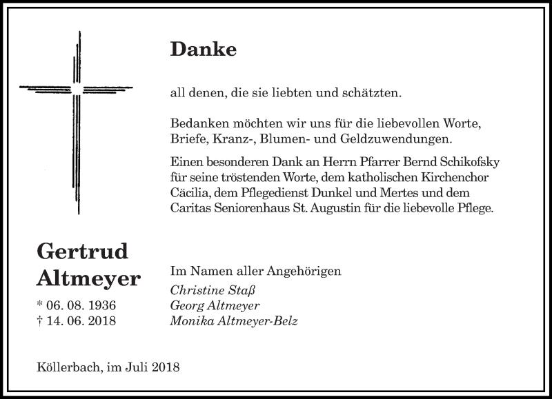 Traueranzeige für Gertrud Altmeyer vom 14.07.2018 aus saarbruecker_zeitung