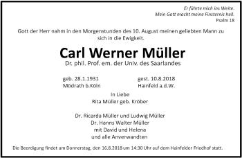 Traueranzeige für Carl Werner Müller vom 14.08.2018 aus saarbruecker_zeitung