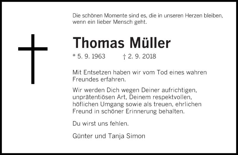 Traueranzeige für Thomas Müller vom 15.09.2018 aus saarbruecker_zeitung