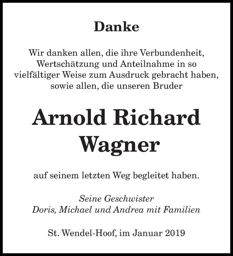 Traueranzeige für Arnold Richard Wagner vom 30.01.2019 aus saarbruecker_zeitung