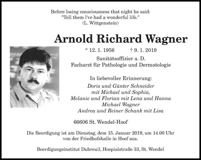 Traueranzeige für Arnold Richard Wagner vom 11.01.2019 aus saarbruecker_zeitung