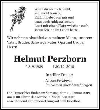 Traueranzeige für Helmut Perzborn vom 10.01.2019 aus saarbruecker_zeitung