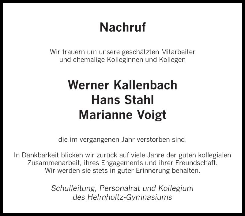 Traueranzeige für Im Gedenken Helmholtz-Gymnasiums vom 11.01.2019 aus saarbruecker_zeitung