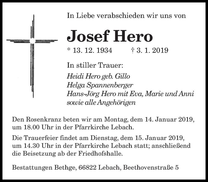 Traueranzeige für Josef Hero vom 11.01.2019 aus saarbruecker_zeitung