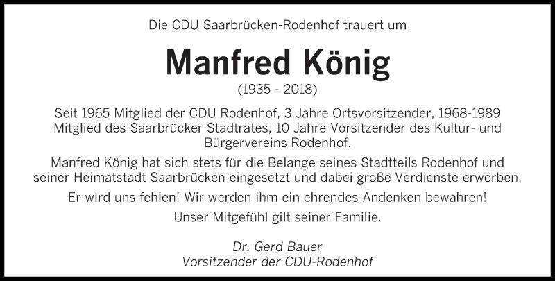 Traueranzeige für Manfred König vom 12.01.2019 aus saarbruecker_zeitung