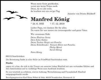 Traueranzeige für Manfred König vom 11.01.2019 aus saarbruecker_zeitung