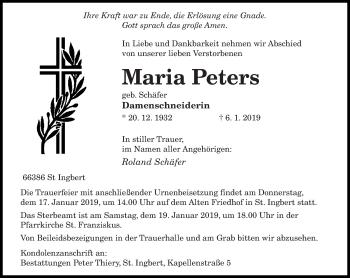 Traueranzeige für Maria Peters vom 11.01.2019 aus saarbruecker_zeitung