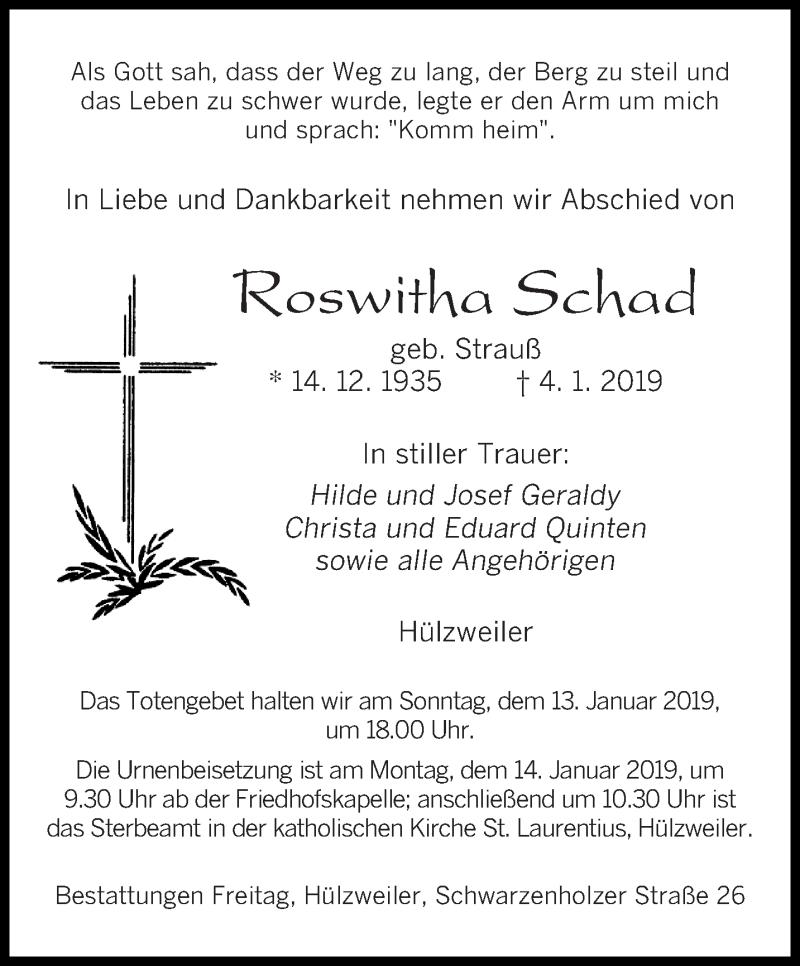 Traueranzeige für Roswitha Schad vom 11.01.2019 aus saarbruecker_zeitung