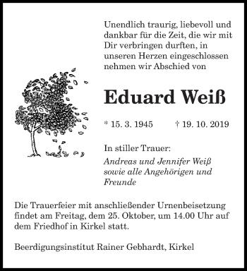 Traueranzeige von Eduard Weiß von saarbruecker_zeitung