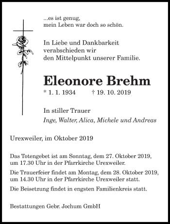 Traueranzeige von Eleonore Brehm von saarbruecker_zeitung