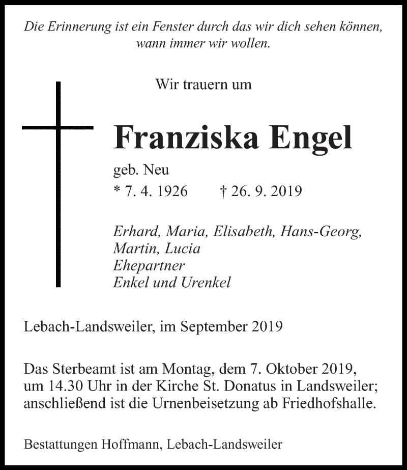 Traueranzeige für Franziska Engel vom 04.10.2019 aus saarbruecker_zeitung