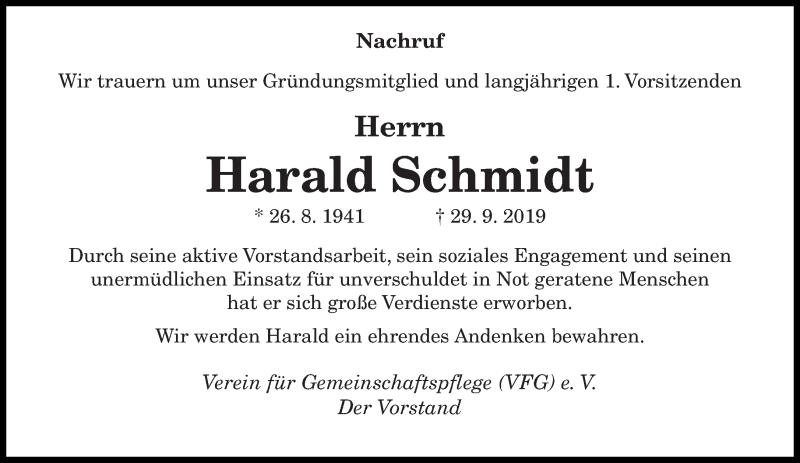 Traueranzeige für Harald Schmidt vom 16.10.2019 aus saarbruecker_zeitung