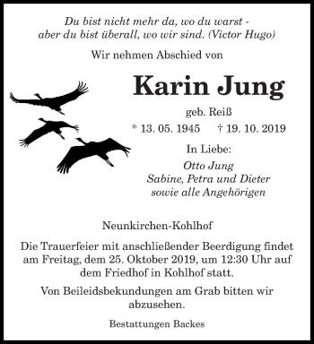 Traueranzeige von Karin Jung von saarbruecker_zeitung