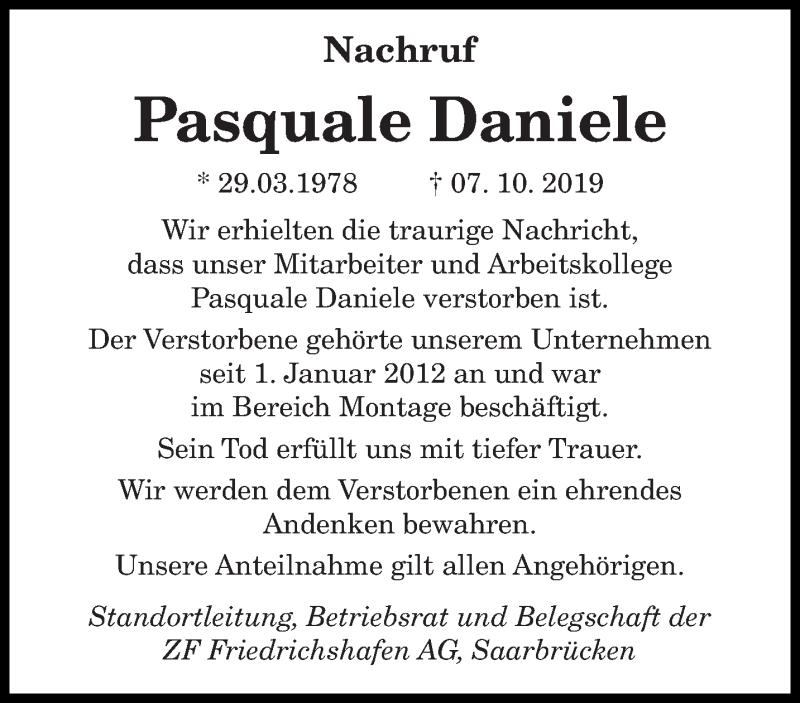 Traueranzeige für Pasquale Daniele vom 19.10.2019 aus saarbruecker_zeitung