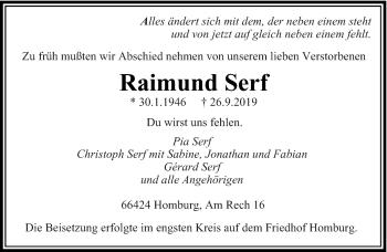 Traueranzeige von Raimund Serf von saarbruecker_zeitung