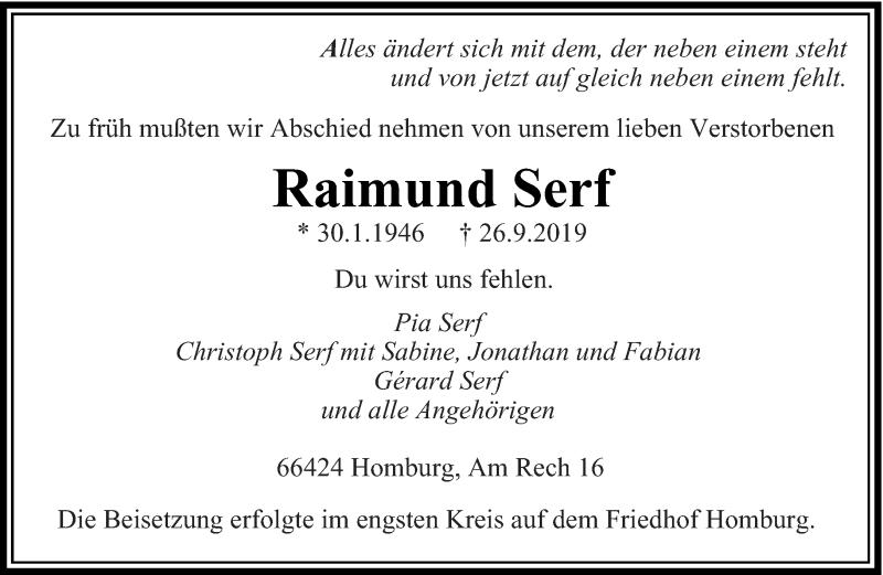 Traueranzeige für Raimund Serf vom 04.10.2019 aus saarbruecker_zeitung