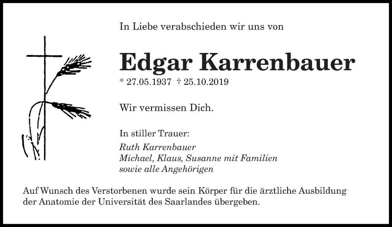 Traueranzeige für Edgar Karrenbauer vom 02.11.2019 aus saarbruecker_zeitung