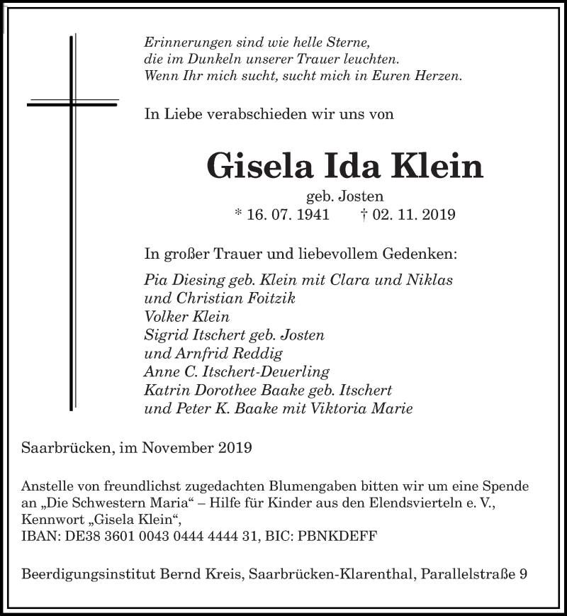 Traueranzeige für Gisela Ida Klein vom 16.11.2019 aus saarbruecker_zeitung