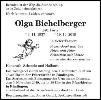 Traueranzeige von Olga Bichelberger von saarbruecker_zeitung