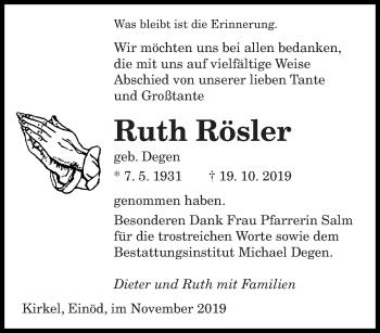 Traueranzeige von Ruth Rösler von saarbruecker_zeitung