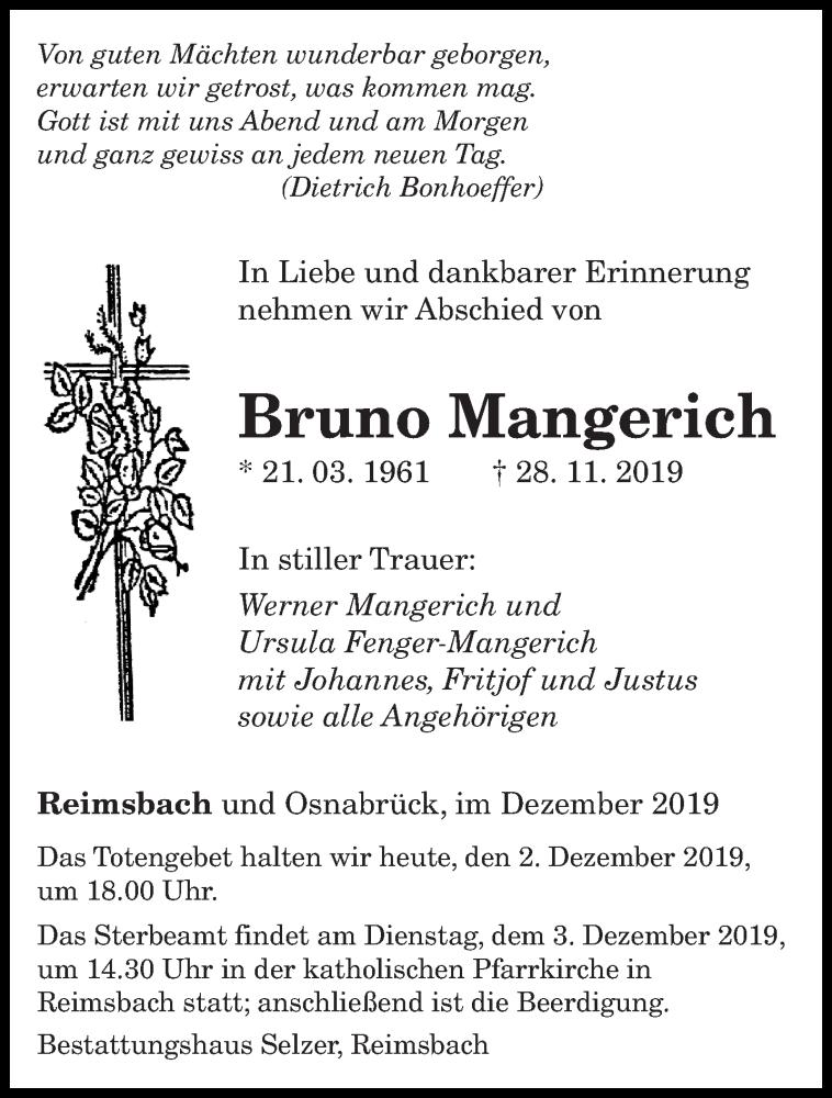 Traueranzeige für Bruno Mangerich vom 02.12.2019 aus saarbruecker_zeitung