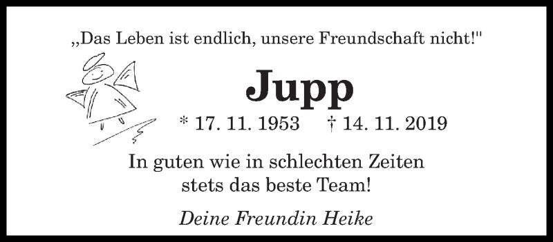 Traueranzeige für Jupp  vom 30.11.2019 aus saarbruecker_zeitung