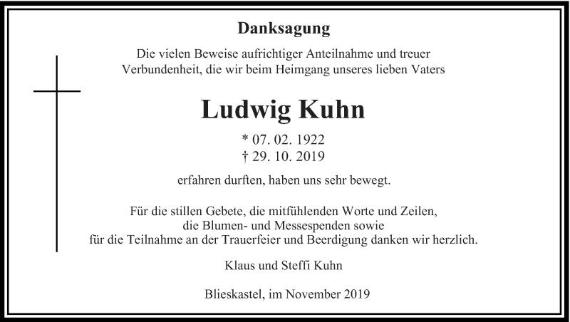 Traueranzeige für Ludwig Kuhn vom 30.11.2019 aus saarbruecker_zeitung