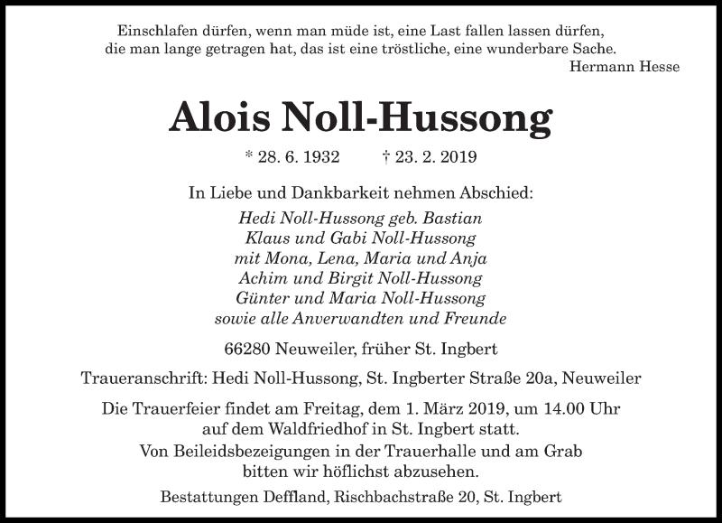 Traueranzeige für Alois Noll-Hussong vom 27.02.2019 aus saarbruecker_zeitung