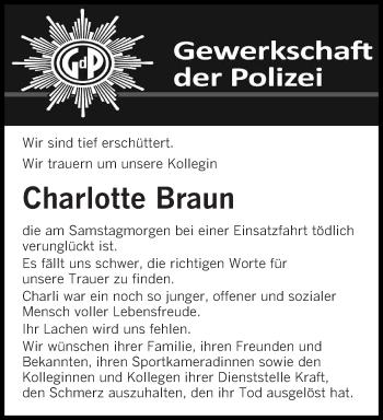 Traueranzeige für Charlotte Braun vom 21.02.2019 aus saarbruecker_zeitung