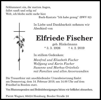 Traueranzeige für Elfriede Fischer vom 09.02.2019 aus saarbruecker_zeitung