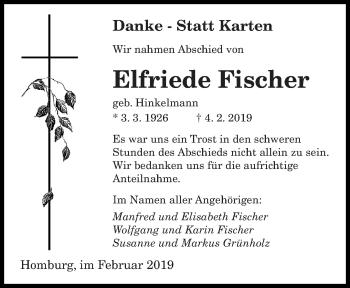 Traueranzeige für Elfriede Fischer vom 20.02.2019 aus saarbruecker_zeitung
