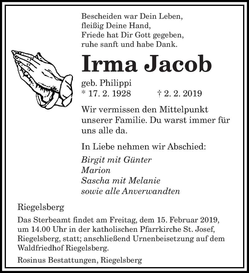 Traueranzeige für Irma Jacob vom 08.02.2019 aus saarbruecker_zeitung