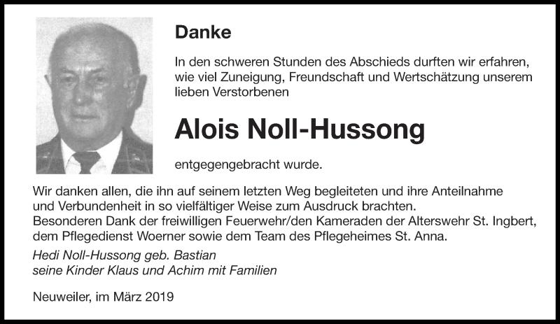 Traueranzeige für Alois Noll-Hussong vom 13.03.2019 aus saarbruecker_zeitung