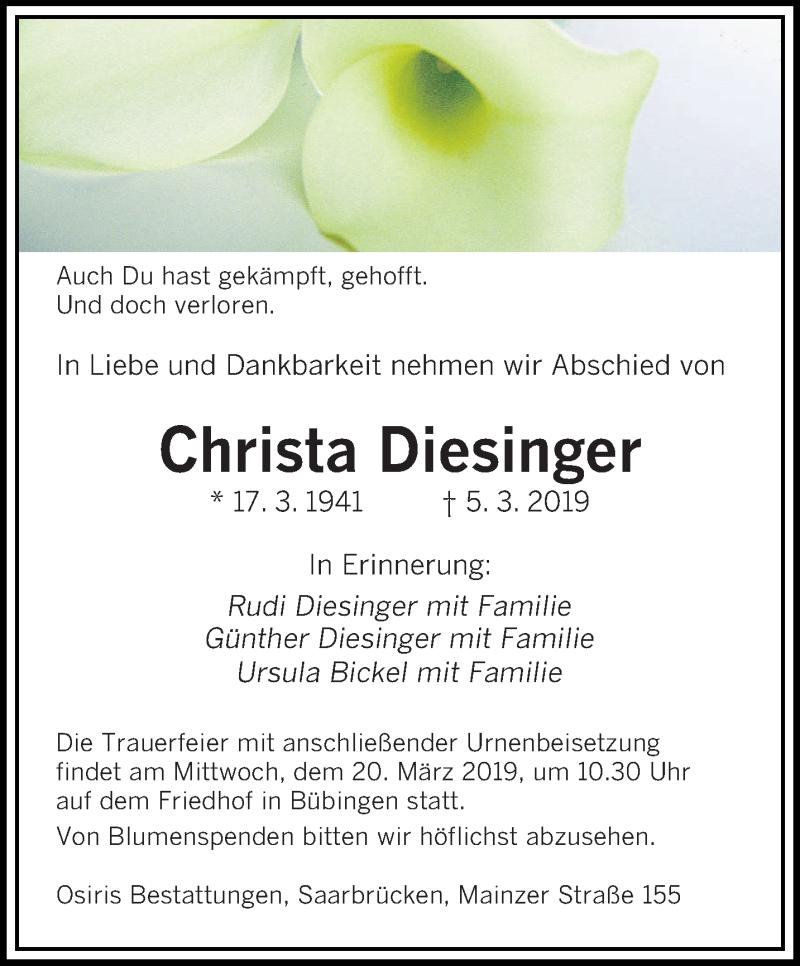 Traueranzeige für Christa Diesinger vom 13.03.2019 aus saarbruecker_zeitung