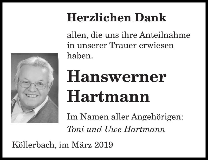Traueranzeige für Hanswerner Hartmann vom 13.03.2019 aus saarbruecker_zeitung