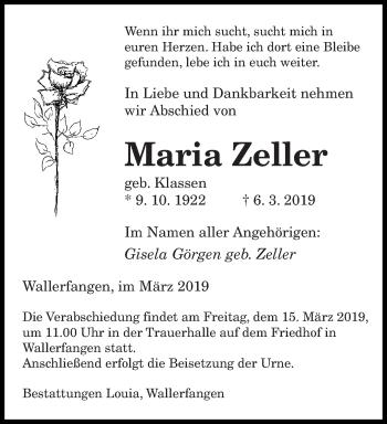 Traueranzeige für Maria Zeller vom 14.03.2019 aus saarbruecker_zeitung