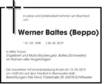 Traueranzeige für Werner Baltes vom 13.03.2019 aus saarbruecker_zeitung