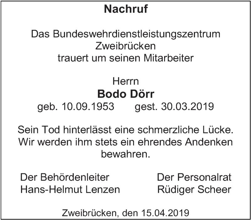 Traueranzeige für Bodo Dörr vom 15.04.2019 aus saarbruecker_zeitung