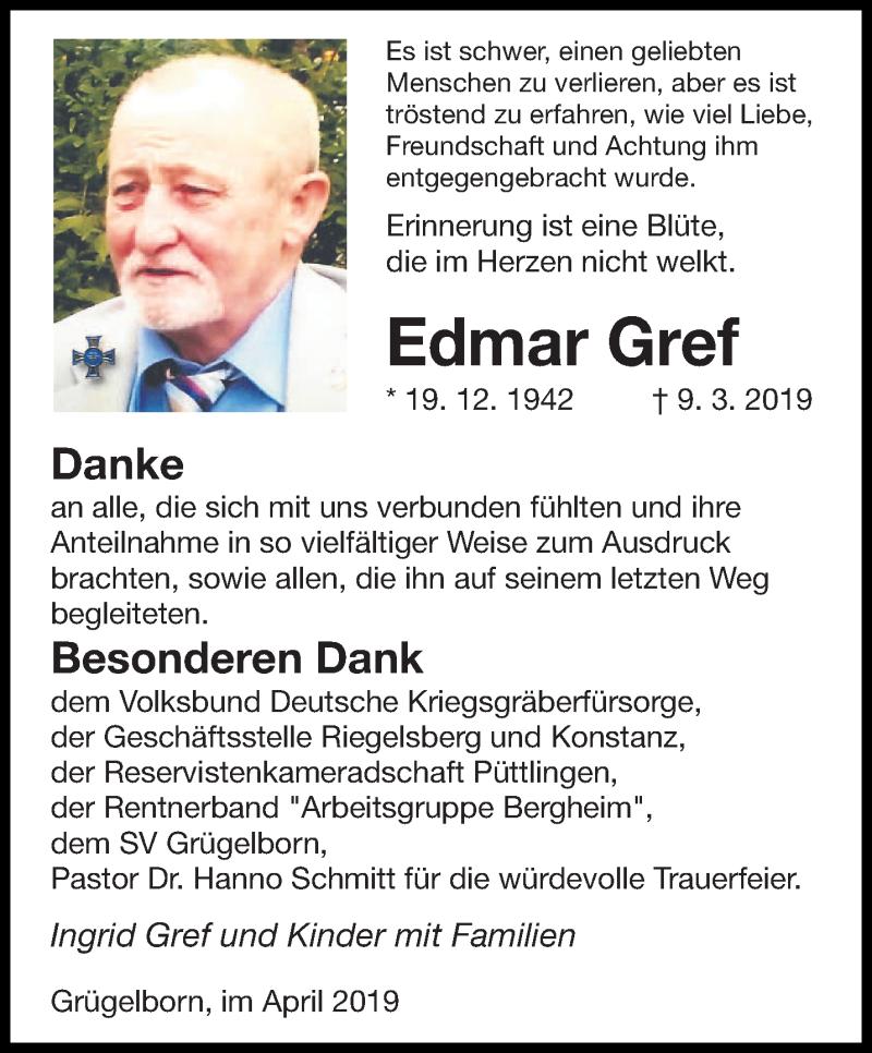 Traueranzeige für Edmar Gref vom 06.04.2019 aus saarbruecker_zeitung