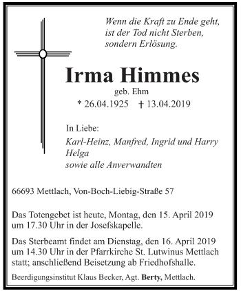 Traueranzeige für Irma Himmes vom 15.04.2019 aus saarbruecker_zeitung