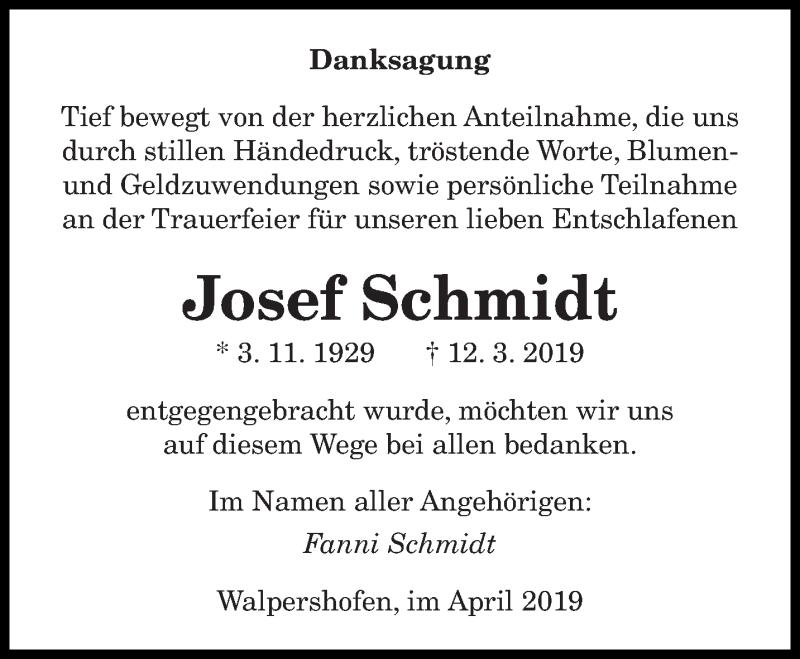 Traueranzeige für Josef Schmidt vom 01.04.2019 aus saarbruecker_zeitung
