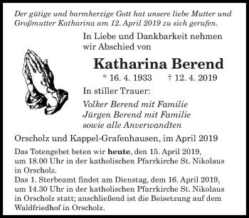 Traueranzeige für Katharina Berend vom 15.04.2019 aus saarbruecker_zeitung