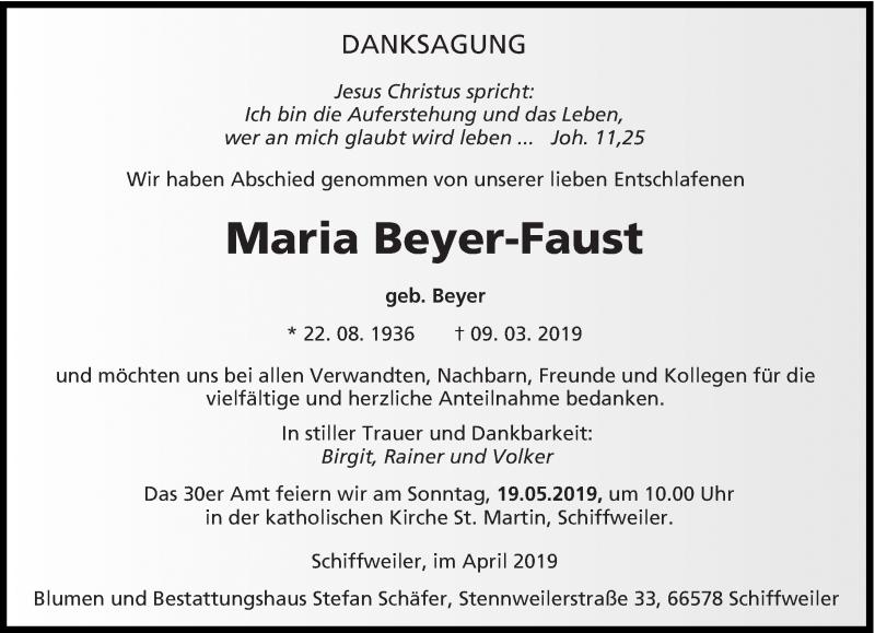 Traueranzeige für Maria Beyer-Faust vom 27.04.2019 aus saarbruecker_zeitung